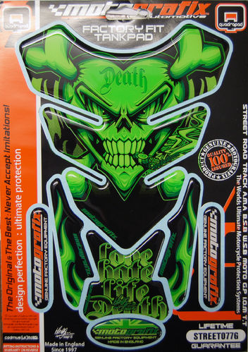 Skull & Crossbones Green Demon Motorcycle Tank Pad Protector 3D Gel Paint Protection ST077G S1