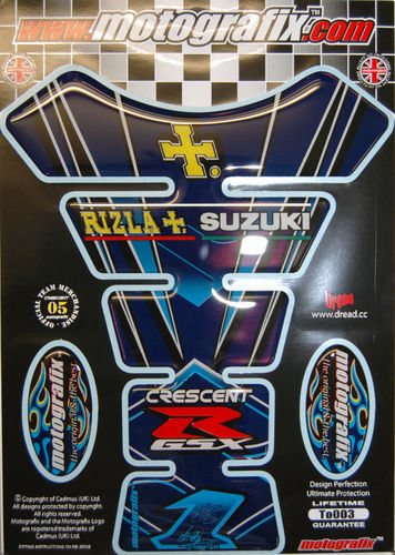 Rizla / Cresent Suzuki GSXR Motorcycle Tank Pad Protector Paint Protection Decal TO003 S1