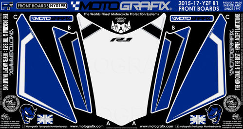 Yamaha R1 R1M 2015 16 17 Blue White Motorcycle Front Fairing Paint Protector NY019B
