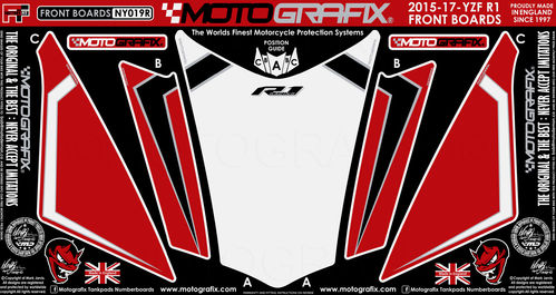 Yamaha R1 R1M 2015 16 17 Red White Motorcycle Front Fairing Paint Protector NY019R