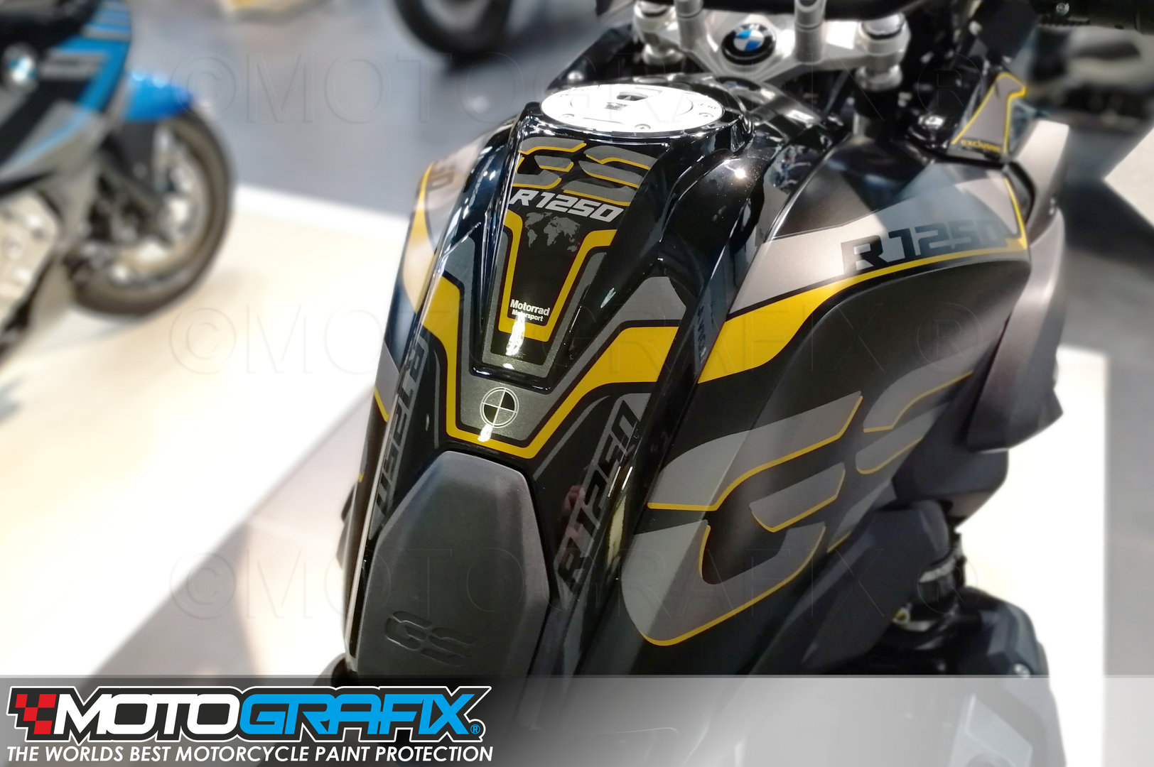 Bmw R1250gs 2018 2019 Black Motorcycle Tank Pad Protector Motografix 3d Gel Tb037ky