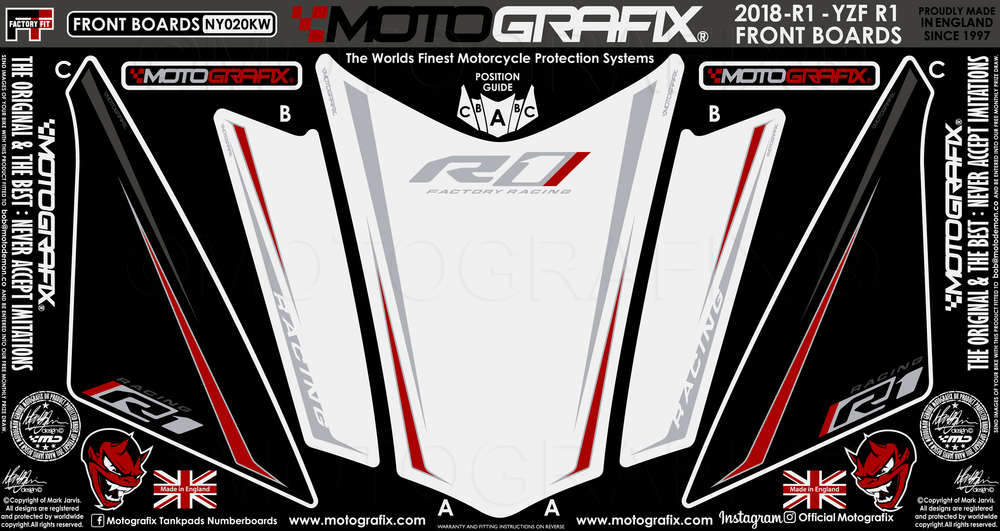 Yamaha R1 2018 2019 White Red Motorcycle Front Fairing Paint Protector Ny020kw