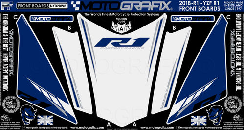 Yamaha R1 2018 2019 White Blue Motorcycle Front Fairing Paint Protector NY020WB