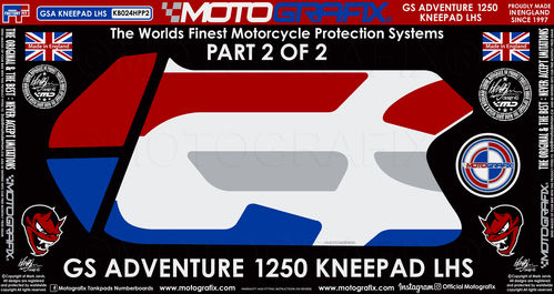 BMW R1250GS Adventure 2019 Rallye HP Motorcycle Tank / Knee Section Paint Protector KB024HP