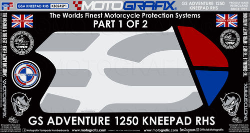 BMW R1250GS Adventure 2019 Rallye HP Motorcycle Tank / Knee Section Paint Protector KB024S