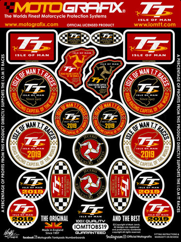 Isle Of Man TT Races IOM TT 2019 Official Licensed 3D Gel Badge Decal Sticker Kit IOMTTOBS19