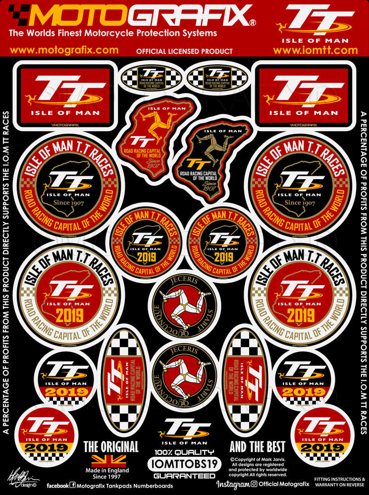 Isle of Man TT Red Gel Badge Sticker
