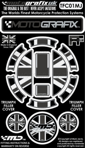 Triumph Union Jack Motorcycle Filler Fuel Gas Cap Protector Paint Protection Decal TFC01MJ