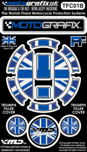 Triumph Union Jack Motorcycle Filler Fuel Gas Cap Protector Paint Protection Decal TFC01B