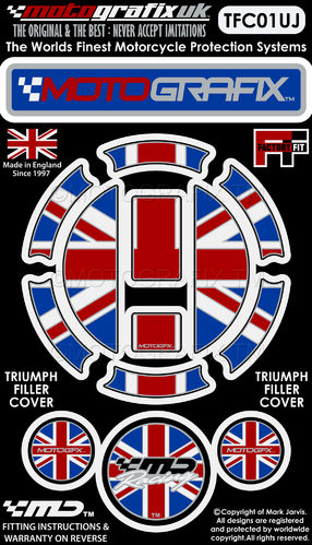 Triumph Union Jack Motorcycle Filler Fuel Gas Cap Protector Paint Protection Decal TFC01UJ