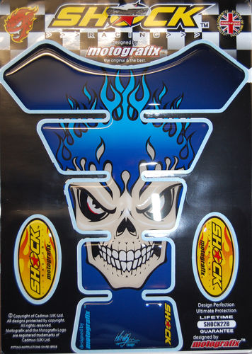 Skull Blue Demon Motorcycle Tank Pad Protector 3D Gel Paint Protection SHOCK22B S1