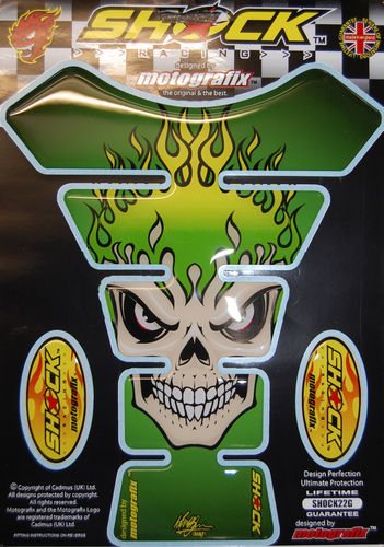 Skull Green Demon Motorcycle Tank Pad Protector 3D Gel Paint Protection SHOCK22G S1