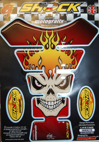Skull Red Demon Motorcycle Tank Pad Protector 3D Gel Paint Protection SHOCK22R S1
