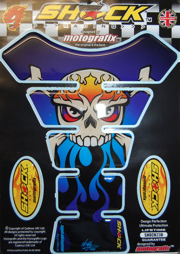 Skull & Crossbones Blue Demon Motorcycle Tank Pad Protector 3D Gel Paint Protection SHOCK23B S1