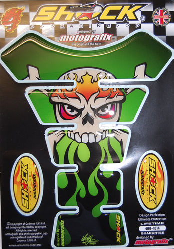 Skull & Crossbones Gren Demon Motorcycle Tank Pad Protector 3D Gel Paint Protection SHOCK23G S1