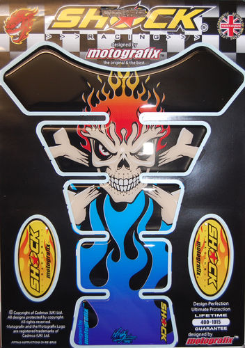 Skull & Crossbones Blue Demon Motorcycle Tank Pad Protector 3D Gel Paint Protection SHOCK24B S1