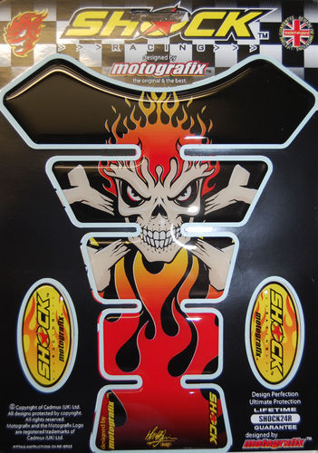 Skull & Crossbones Red Demon Motorcycle Tank Pad Protector 3D Gel Paint Protection SHOCK24R S1