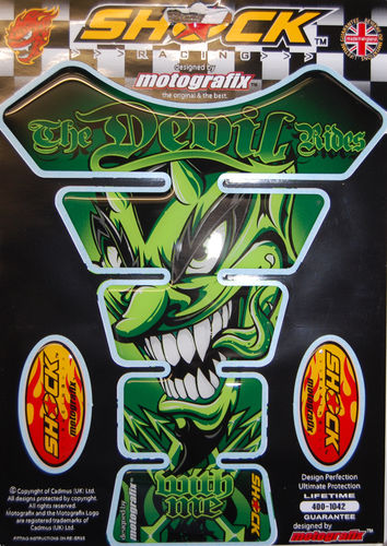 Devil Rides With Me Green Motorcycle Tank Pad Protector Motografix 3D Gel SHOCK56G S1