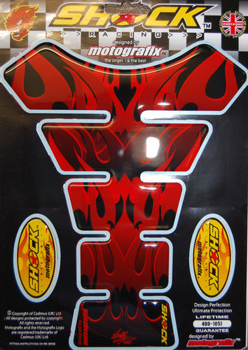 Tribal Hell Flame Red Motorcycle Tank Pad Protector Motografix 3D Gel SHOCK61R S1