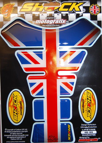 Union Jack Great Britain Universal Motorcycle Tank Pad Protector Motografix 3D Gel SHOCK65 S1