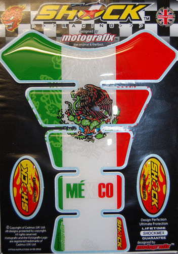 Mexican Mexico Style Motorcycle Tank Pad Protector Motografix 3D Gel SHOCKMEX S1