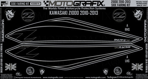 Kawasaki Z1000 2010 11 12 13 Motorcycle Side Fairing Paint Protector KSS001K