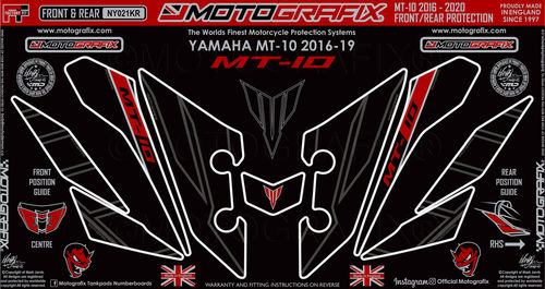 Yamaha MT10 MT-10 2016 - 2020 Motorcycle Front & Rear Fairing Paint Protector NY021KR