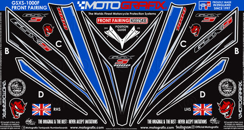 Suzuki GSXS 1000 F 2015 - 2019 Motorcycle Front Fairing Paint Protector / Chip Protection NS025KB